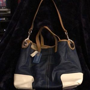 Dark Blue & White Leather Coach Purse